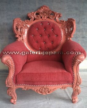 Indonesia Furniture - Living Room Pink Sofa - Home Furniture Mahogany Wood