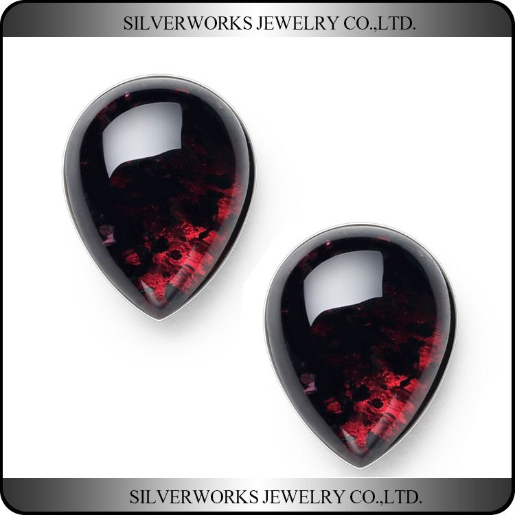 Genuine 925 Sterling Silver Tear-Drop Red Garnet Crystal Stud Earrings