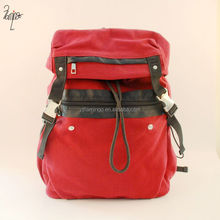 Good quality dark red customized knapsack, canvas backpack