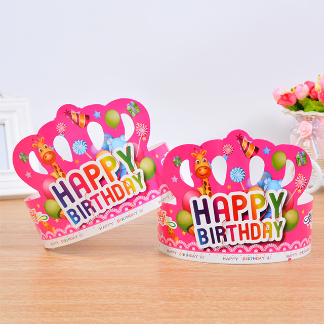 Happy Birthday Party Hats DIY Cute Handmade Cap Crown Shower Baby Decoration Boy Girl Gifts Supplies