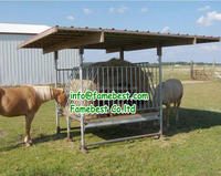 Livestock hay feeder for cattle and horse,corral feeder with roof