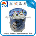 Custom size round tin bucket with handle