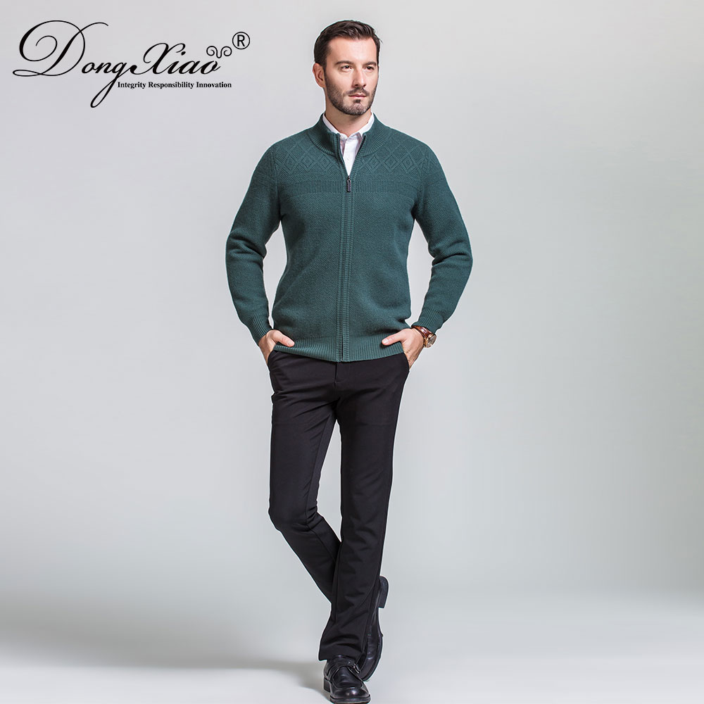 Wholesales Men'S Cardigan Green Color Cashmere Zipper Sweater From China Best Supplier