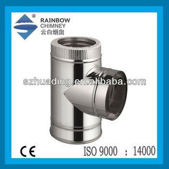 CE Double Wall Stainless Steel 90 Degree Chimney Tee Fitting Pipe