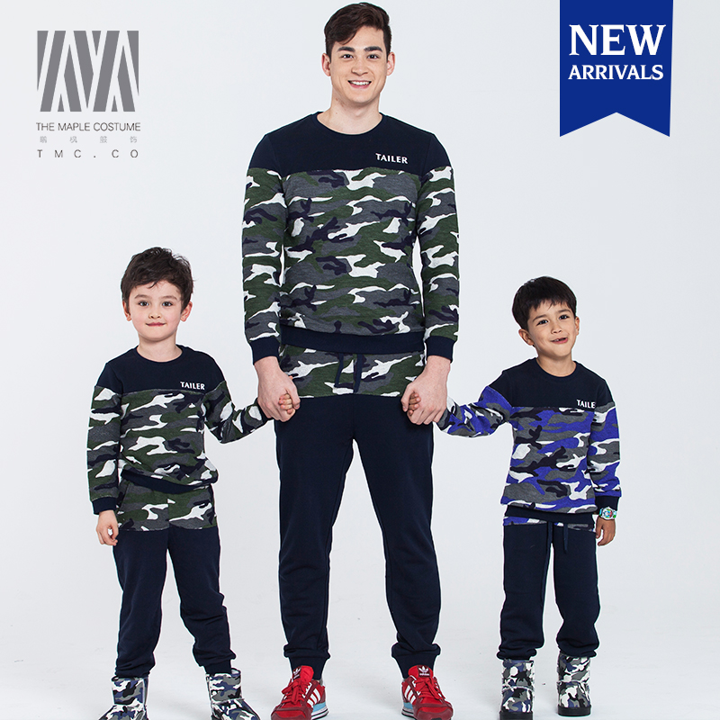 Fashion comfortable cozy camouflage round neck family clothing