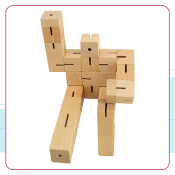 Wooden Toys for Kids, Cube Man Transforming Toys Robot, Wooden Puzzle