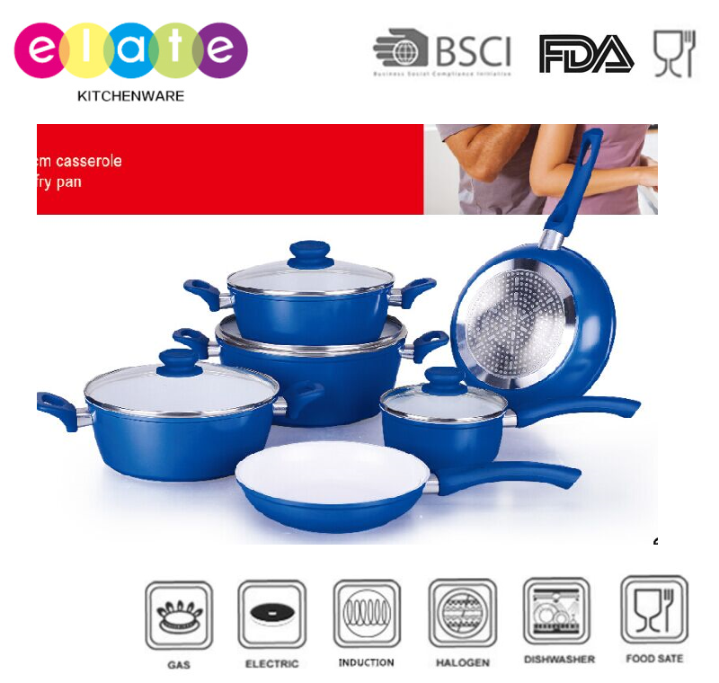 Hot sale 10PCS Forged alu cookware set with ceramic coating