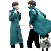 Japanese hot anime Attack on Titan Eren Jaeger men green long cloak custom Cosplay costume