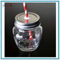 10 oz Mason Jar with Straw Embossed Pattern Glass Storage Jar