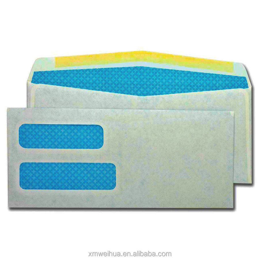 Colorful printed white offset paper envelope with double windows