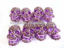 Newest styles crystal rhinestone skull beads!! Rhinestone pave crystal skull beads wholesales!! Purple colors!! Hottest!! !!