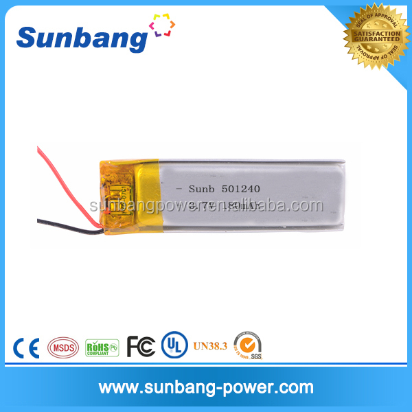 LP501240 rechargeable battery 3.7v li-ion polymer battery 180mah for Bluetooth earphone