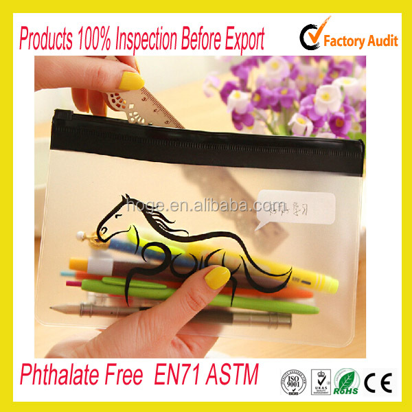 Phthalate free clear vinyl pvc zipper pouch
