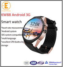 Factory Selling smart watch kw88 android 5.1 smartwatch with bluet full round screen heart rate report bluetooth synchronization