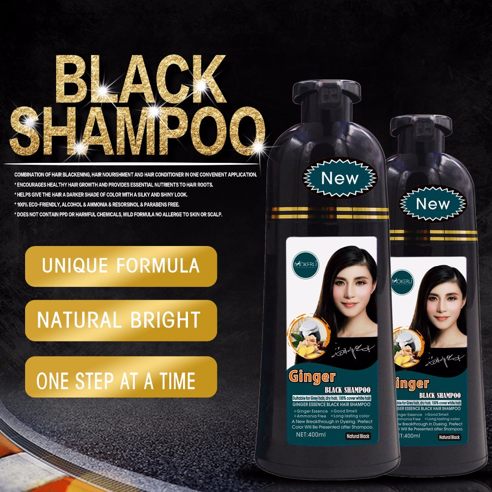 Mokeru Best Permanent Black Hair Dye Shampoo For White Hair To Dark
