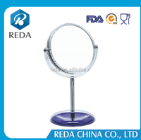 Plastic mirror frame, small table makeup mirror, cheap stand mirror transparent