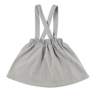 Latest design suspenders skirt with linen fabric wholesale grey girls skirt