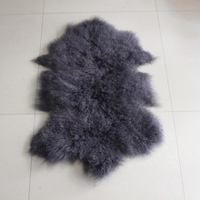 MONGOLIAN TIBETAN FUR SHEEPSKIN HIDE RUG PLUSH CURLY HAIRS 50X100CM