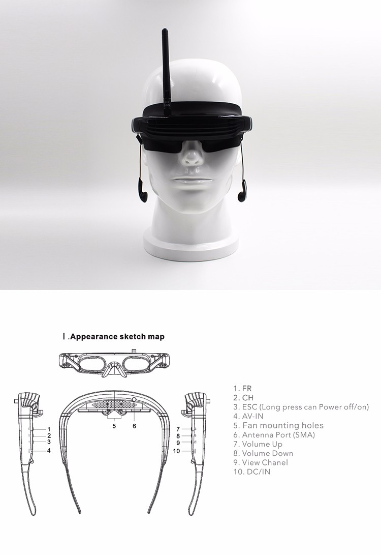 virtual reality 3D 1080P video glasses