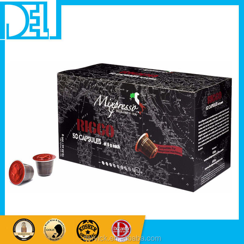 Natural and Organic Kosher Original Italy Mixpresso RICCO Espresso 50 coffee capsules compatible for Nespresso machine