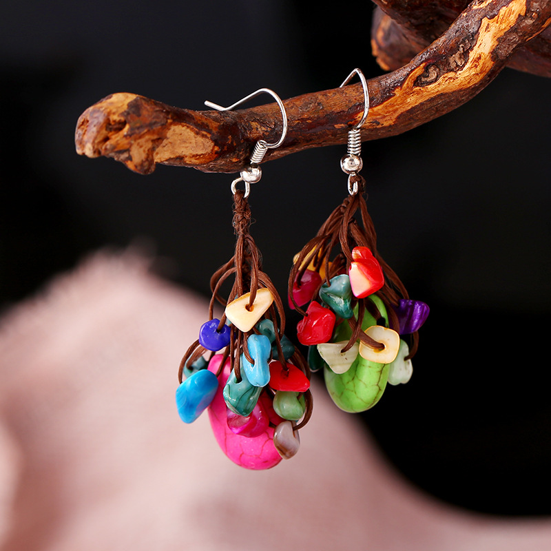 Wholesale Fashion Handmade Jewerly Turquoise Tassel Bead Earrings