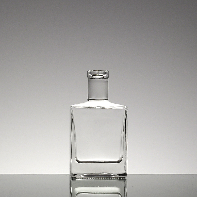 fancy french square 500ml 250ml small super flint glass liquor bottle