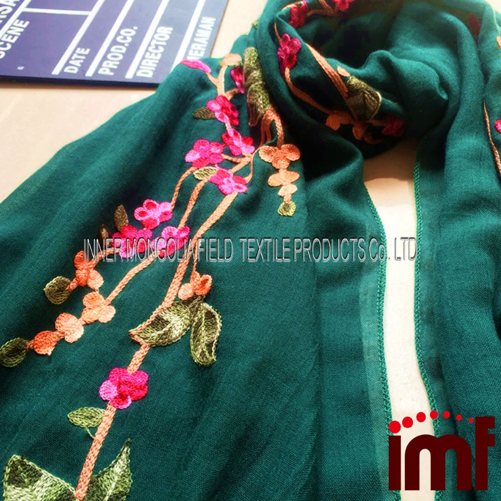 Oversized Embroidered Scarf for Women Ethnic Style Flower Cluster Scarves