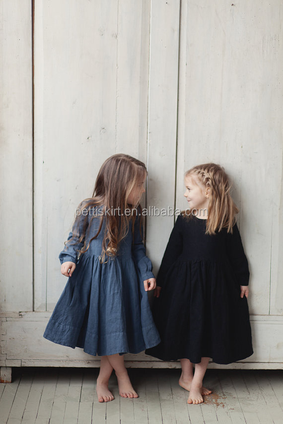 Fashion kids hand made smock dress little girl black linen dress for autumn