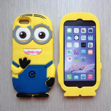 Despicable me 2 3d silicone soft skin minion silicone case for iphone 6 plus 6s plus