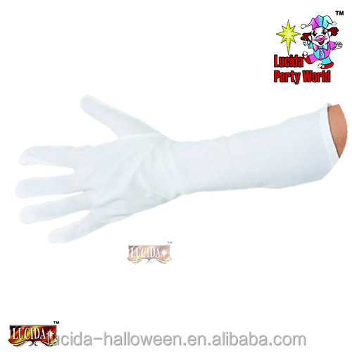 "Lucida Halloween Carnival gloves 3906 15""white polyester gloves for adult party costume supplier"