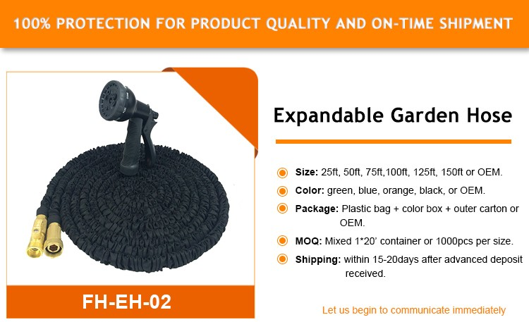 50ft Black Expandable Garden Hose - Strongest Double Latex Brass Valve Fitting - 8 Function Spray Gun-Magic Hose Pipe - Stretch