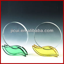 Beautiful Color Crystal Leaf Trophy And Crystal Clear Quartz Round,Photo Crystal