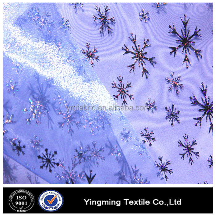 snowflake pattern printing beautiful little girl dress organza fabric