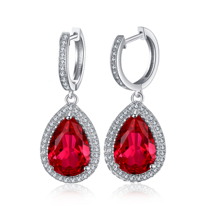 JewelryPalace Created Red Ruby Dangle Earrings Solid 925 Sterling Silver Dangle Earring Fine Jewelry