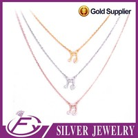 White gold 925 quality aaa cz stones jewelry for best friend necklace