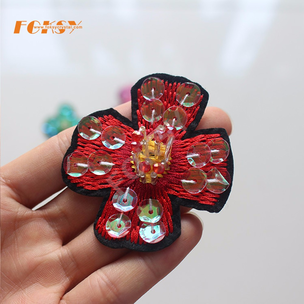 Sequins and beads embroidery flower handmade patches for clothes