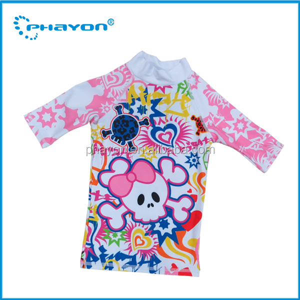 OEM&ODM 2015 spf 50+ 3/4 sleeve pretty print kids surf shirts