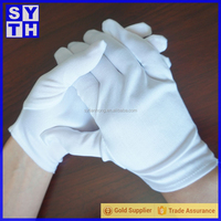 Factory Wholesale 100% Cotton Skidprof Full Finger Gloves/ White Driver Ceremony/Parade Gloves For Men/Women