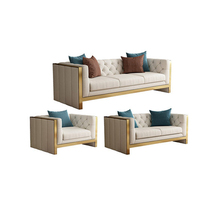 Luxurious French Classic Lounge PU Leather Stainless Steel Leg Sofa Set for Wedding Event Home <strong>Furniture</strong>