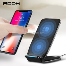 ROCK Dual Coil Qi Wireless Charger 10W Phone Fast Charging Pad Docking Dock Station for iPhone 8 10 X Samsung Note 8