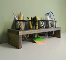 Wood Office Desk organizer caddy with 3 stainless steel <strong>pen</strong> <strong>holder</strong>