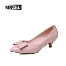 free sample TITAN Slip-on Butterfly knot heel shiny leather Pumps shoes