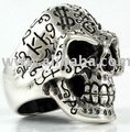Skull Tattoos Heavy 92.5% Sterling Silver Men's Biker Rings Jewelry Jewellery