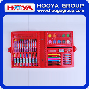 Promotional educational gift shcool Drawing Art Set Coloring kit for kids with pecil maker crayon