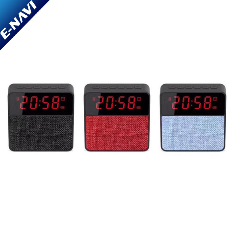 New Arrival LED Clock Display Speaker Fabric Wireless Speakers with Microphone for Living Room