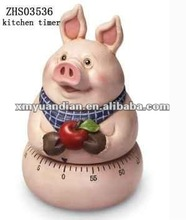 Cute Kitchen Timer w Style of Pig Holding Apple