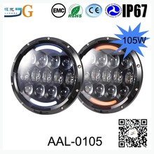 New 7 inch 105W 5500lumen round jeep wrangler LED headlight with turning function
