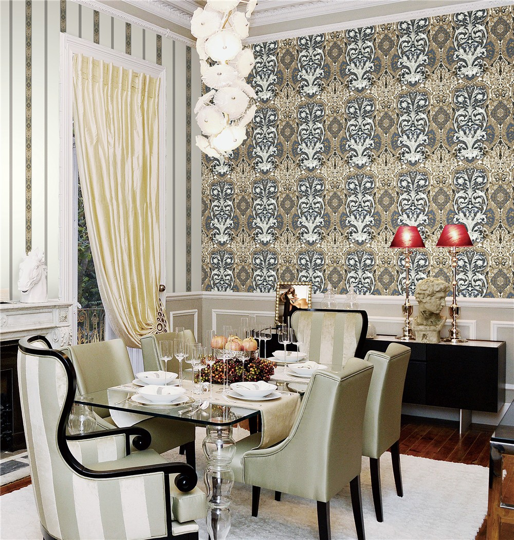 2018 NEW DESIGNED Waterproof classic or damask PVC wallpaper