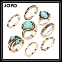 New Bohemia Vintage Unique Tibetan Silver Plated Turquoise Stone Ring Set For Women Boho Jewelry Punk Finger Knuckle Rings
