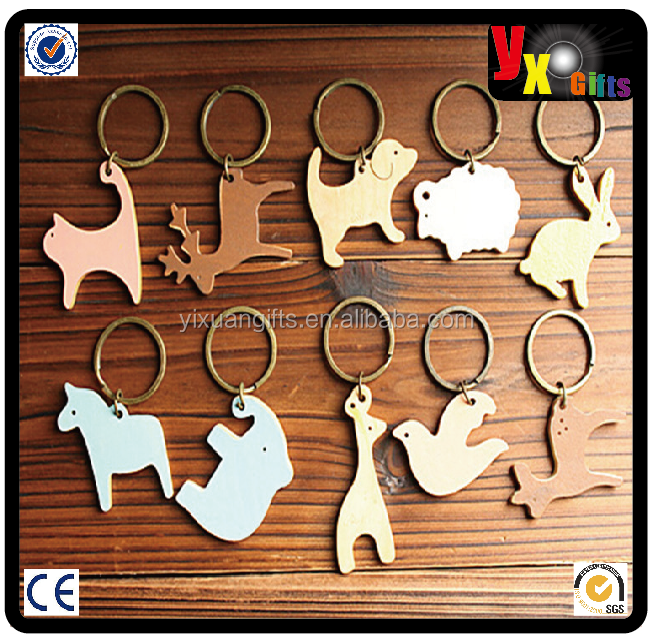 mini cactus plants/split keys ring flat/little animal shaped Wooden Keychain